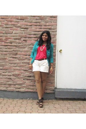 salmon Forever 21 shirt - white Joe Fresh shorts - turquoise blue Cleo cardigan