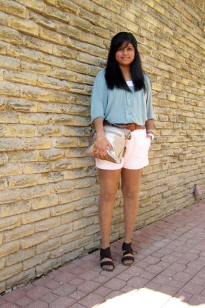 Cleo purse - self-made shorts - Rickis belt - expression heels - Forever 21 top
