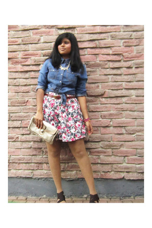 salmon Forever 21 skirt - navy H&M shirt - beige Cleo bag - tawny vintage belt
