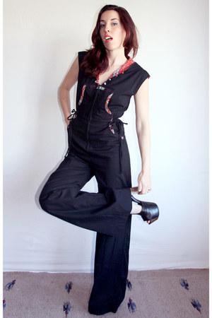 black hooded Jody of California Vintage romper - black Jessica Simpson heels
