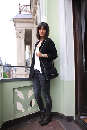 black H&M blazer - black All Saints boots