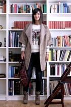 camel coat Zara coat - lace up boots PROENZA SCHOULER boots