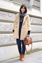 camel cape coat Zara coat - knit sweater American Apparel sweater - messenger ba