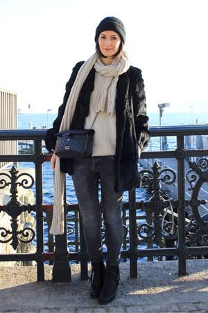 acne boots - fur coat vintage coat