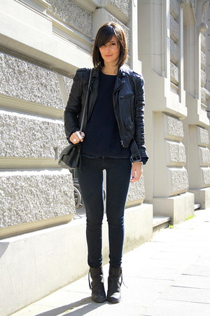 acne boots - H&M jeans - Zara jacket - American Apparel sweater