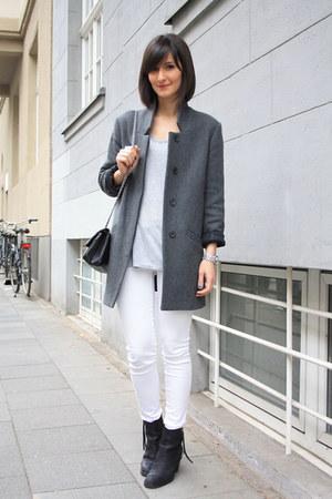 acne boots - grey coat Zara coat - Zara jeans - t by alexander wang t-shirt