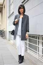 acne boots - grey coat Zara coat - Zara jeans - t by alexander wang t-shirt