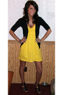 Gold-victorias-secret-dress-black-mossimo-cardigan-black-not-rated-shoes