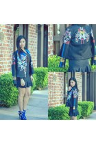 blue graphic print Clover Canyon jacket