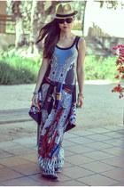 blue maxi printed Karen Kane dress - black printed Clover Canyon dress