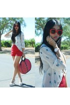blue dex clothing blouse - red Dear Creatures shorts - red zeroUV sunglasses