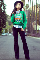 green Kenzo sweater - black denim flared nightcap jeans