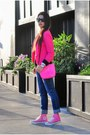 Navy-lucky-brand-jeans-hot-pink-fitted-zara-blazer