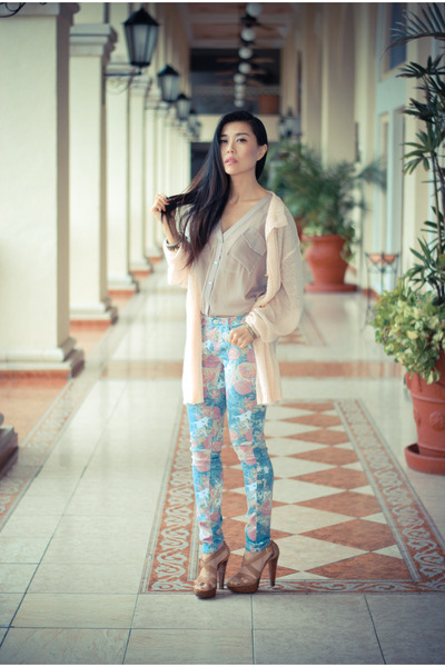 floral YMI jeans - cardigan Wildfox sweater - leather Miu Miu sandals