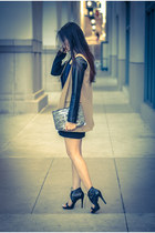 black leather dress - heather gray clutch Alexander Wang bag