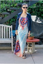 navy light Rachel Zoe jacket - light blue maxi dress modcloth dress