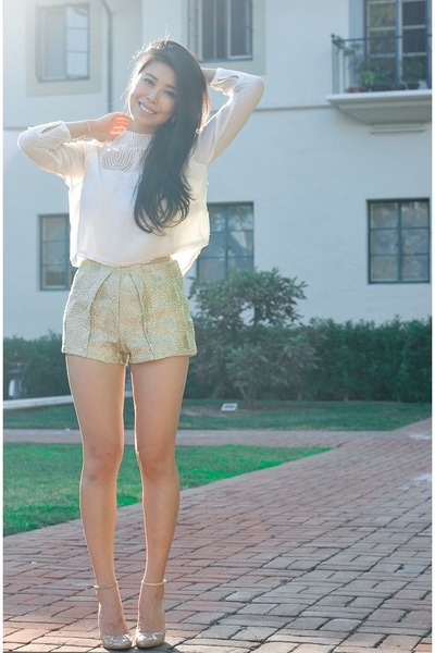 gold metallic H&M shorts - cream chiffon H&M blouse
