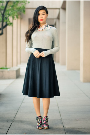 black Trina Turk skirt - salmon Gypsy05 top - black brandy melville top