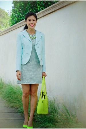 light blue Carven blazer - light blue tweed McGinn dress