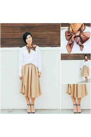 tan Missguided skirt - silk Chanel scarf - off white Hanes sweatshirt