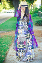 kimono Gypsy Junkies cape - printed maxi H&M dress - B&Y hat - Boohoo necklace