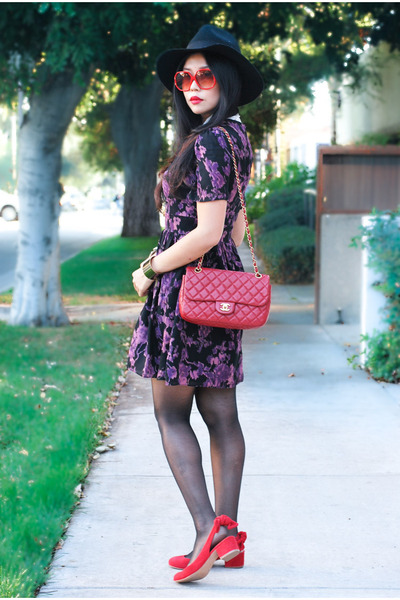 red fedora Topshop hat - amethyst floral dress SIC Couture dress