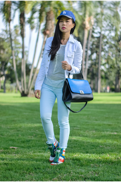 white denim AG Jeans jacket - light blue cotton stripe AG top