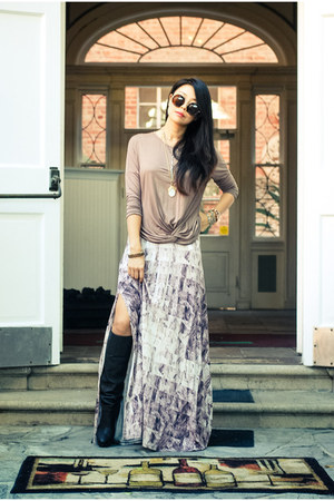 puce maxi skirt three dots skirt - black similar Stella McCartney boots