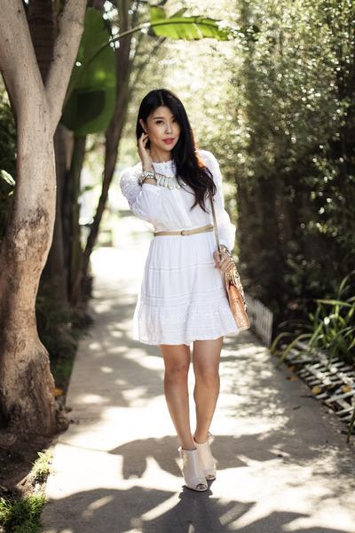 white feminine Isabel Marant dress - peach Chloe sandals