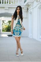 white tailored Stella and Jamie blazer - sky blue keepsake dress