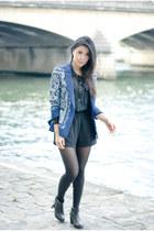 navy Zara blazer - Diba boots - black wish romper