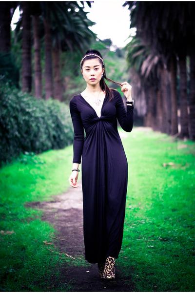 dark brown animal print Shoedazzle boots - black maxi luluscom dress