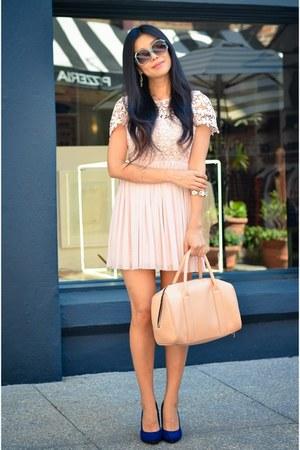 dress - nude bag - bracelet - navy spring heels - mint rhinestone earrings