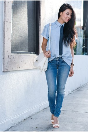 Levis jeans - light blue AYR top - white Boohoo heels - timex watch