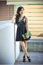black leather cut-out Mason by Michelle Mason dress - clutch BCBG purse