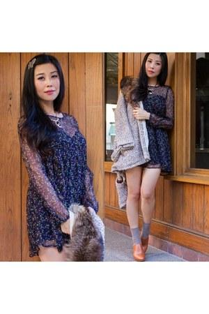 navy floral print funktional dress - tan Shareen Vintage sweater
