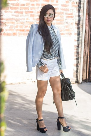 black she  lo bag - light blue Zara blazer - Uniqlo shirt - white Express shorts