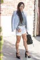 black she  lo bag - light blue Zara blazer - Uniqlo shirt - white Express shorts