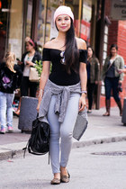 black Missguided top - heather gray DSTLD jeans - Uniqlo shirt