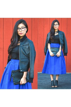blue Tibi skirt - black ankle boots Kelsi Dagger boots