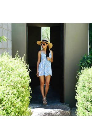 light blue BB Dakota romper - beige straw Magid hat - white Chloe glasses
