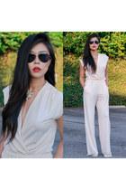 gold statement tj Designs necklace - navy aviator cynthia rowley sunglasses
