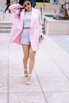 white cropped Motel Clothing shirt - light pink feminine Boohoo coat