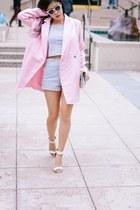 white cropped Motel Clothing shirt - light pink feminine Boohoo coat
