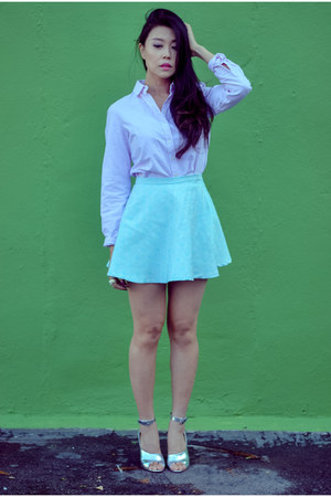 aquamarine skater shopsosie skirt - light pink button down Joe Fresh blouse