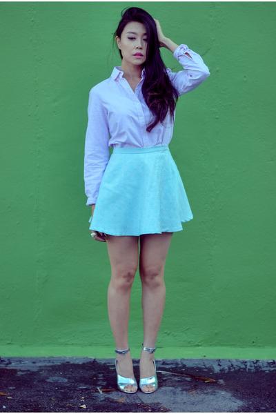 aquamarine skater shopsosie skirt - light pink button down Joe Fresh blouse