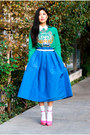 blue midi Kibi skirt - teal graphic tee Kenzo sweatshirt