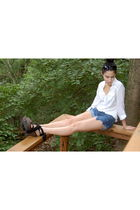 white Forever 21 blouse - blue Forever 21 shorts - black Charlotte Russe shoes -