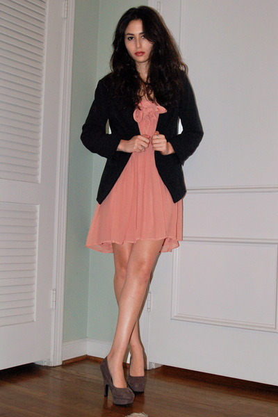 pink JCrew dress - gray Forever 21 shoes - black Charlotte Russe blazer