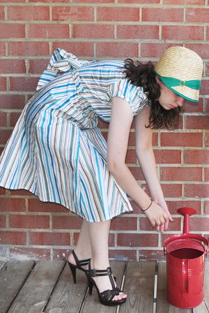 white Shabby Apple dress - yellow Eugenia Kim for Target hat - brown DSW shoes
